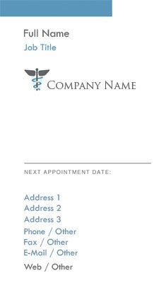 White and Blue Caduceus Business Card Template